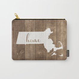 Massachusetts is Home - White on Wood Carry-All Pouch