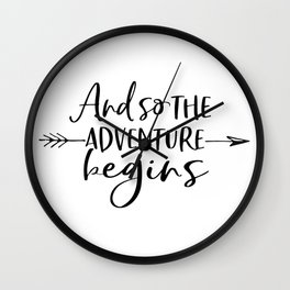 And So The Adventure Begins,Calligraphy Quote,Arrow Art,Adventure Time,Adventure Awaits,Kids Gift Wall Clock
