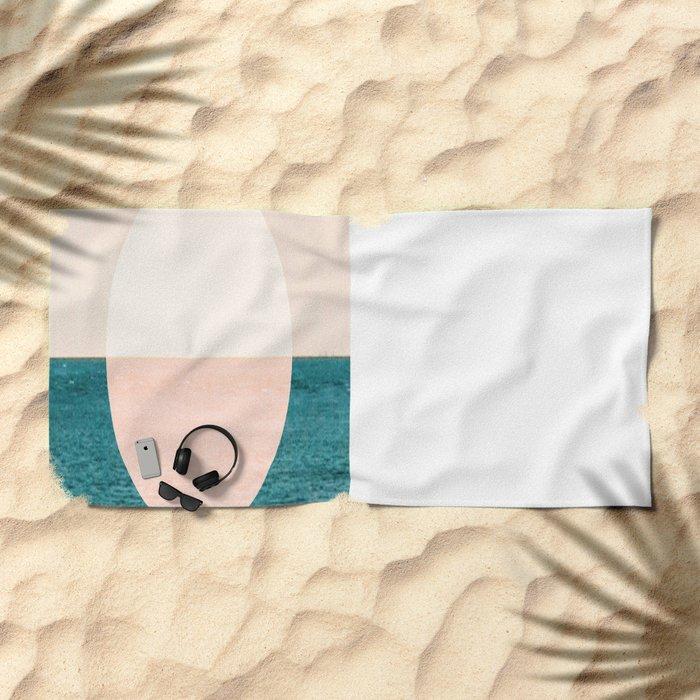 Geometric Sunset Beach Towel