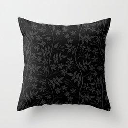Black and charcoal star jasmine creeper Throw Pillow