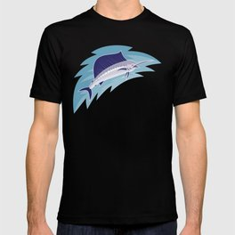 sailfish jumping retro style T-shirt