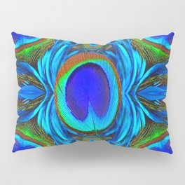 BLUE  PEACOCK EYE FEATHER ABSTRACT Pillow Sham