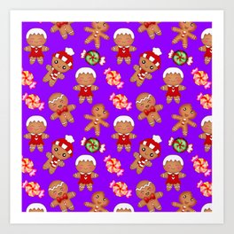Cute Christmas seamless pattern. Happy festive gingerbread men and sweet xmas caramel candy. Art Print