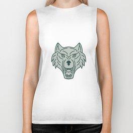 Gray Wolf Head Mono Line Biker Tank