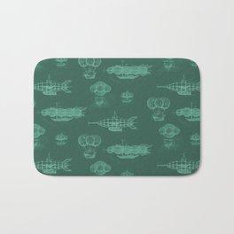 Airship Pattern Green Bath Mat