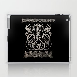 Old norse design - Two Jellinge-style entwined beasts originally carved on a rune stone in Gotland. Laptop & iPad Skin