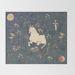 Unicorn Garden Throw Blanket