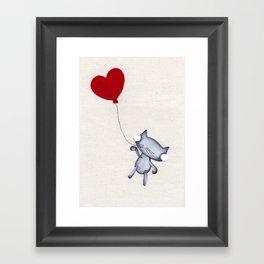Zombie Kitty Flies Away On Valentines Day Framed Art Print