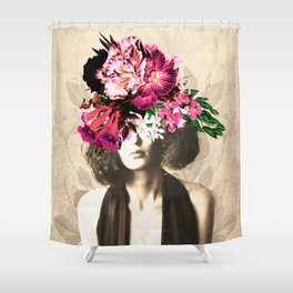 Floral Woman Vintage White Rose Gold Shower Curtain