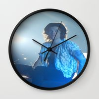 harry styles Wall Clocks featuring Harry Styles by Halle