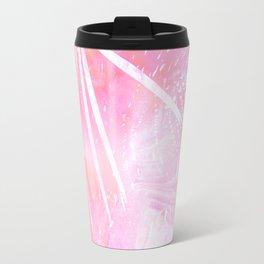 Abstract Pink Palm Tree Leaves Design Travel Mug