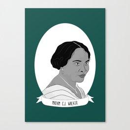Madam C.J. Walker Illustrated Portrait Canvas Print