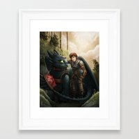 how to train your dragon Framed Art Prints featuring How to Train Your Dragon by Krikin