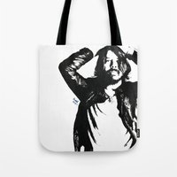 dave grohl Tote Bags featuring Dave Grohl (1) by Carolyn Campbell