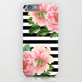 Pink Peonies Black Stripes iPhone Case