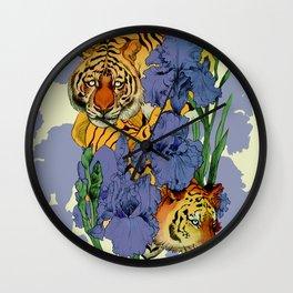 Tigers and Irises Wall Clock