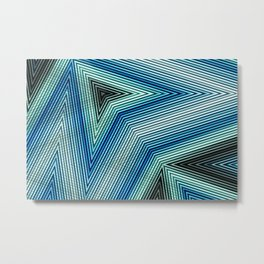 Pattern Zig Zag blue Metal Print
