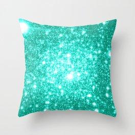 mint Green Sparkle Stars Throw Pillow