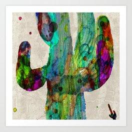 Rainbow 2 Neon Cactus Saguaro Poster print watercolor by Robert Erod Art Print