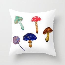 Mushroom Collection Throw Pillow
