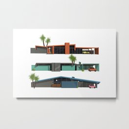Original Mid Century Modern Houses Metal Print