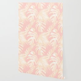 Tropical Palm Leaves on Pastel Pink II Wallpaper