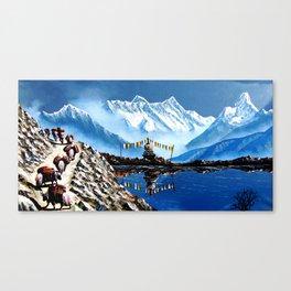 Panoramic View Of Annapurna Mountain Nepal Canvas Print