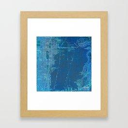 Miami Florida vintage map year 1950, blue usa maps Framed Art Print