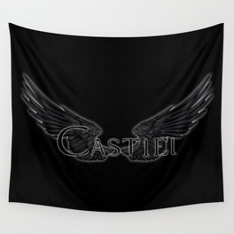 Castiel with Wings Black Wall Tapestry