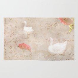 Geese, clouds, roses, vintage calligraphy Rug