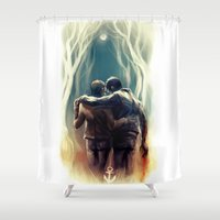 sterek Shower Curtains featuring sterek by AkiMao