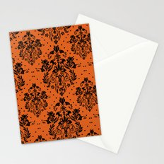 Vintage black orange halloween floral damask Stationery Cards