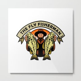Fly Fisherman Holding Largemouth Bass Woodcut Metal Print