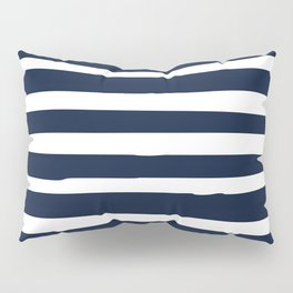 Ocean Stripes, Modern, Abstract, Navy Blue and White Pillow Sham