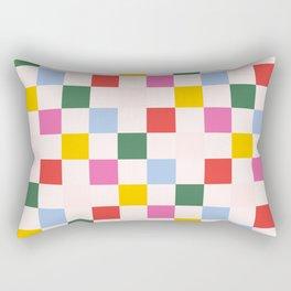 Retro Bauhaus Pattern | Abstract Shapes | Geometric Checks Rectangular Pillow