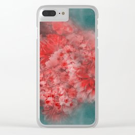 Abstract Red Flowers Clear iPhone Case