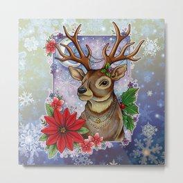 Neo Traditional Festive Reindeer  Metal Print