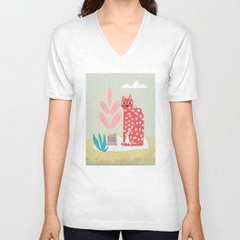 Red Dotted Cat Unisex V-Neck