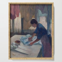 Edgar Degas, Woman ironing, new colors Serving Tray
