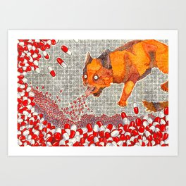 Vomit Cat Art Print