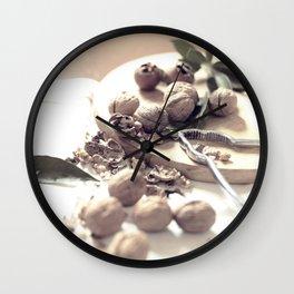 Food porn, still life, kitchen wall art, living room, home decor, nuts Wall Clock