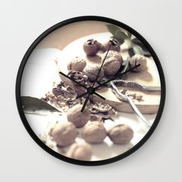 Food porn, still life, kitchen wall art, living room, home decor, nuts Wall Clock