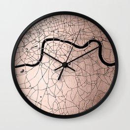 London Rosegold on Black Street Map Wall Clock