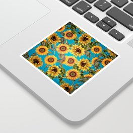 Vintage & Shabby Chic - Sunflowers on Turqoise Sticker