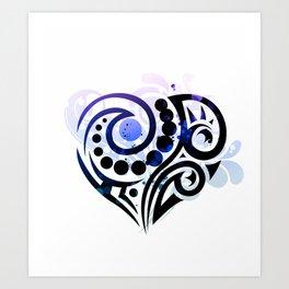 Blue Tribal Love Art Print