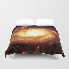 Golden Spiral Galaxy Duvet Cover