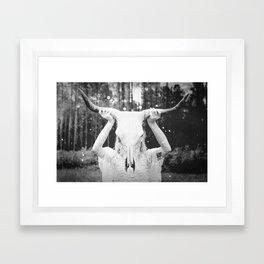 Bull Skull Tribal Woman Vintage Framed Art Print
