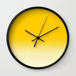 Yellow Dot Ombre to White Wall Clock