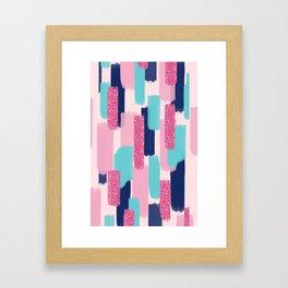 Navy and Pink Glitter Brush Strokes Framed Art Print