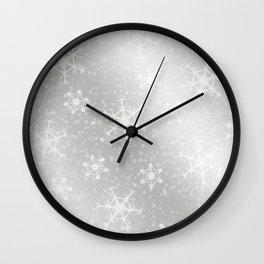 Snowflake Christmas silver snowflakes bokeh lights pattern Wall Clock